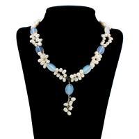Natürliche kultivierte Süßwasserperlen Halskette, mit Opal, Messing Karabinerverschluss, mit Verlängerungskettchen von 5cm, für Frau, 6mm, 13x18x4mm, verkauft per ca. 18.5 ZollInch Strang