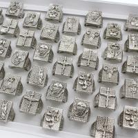 Zinklegierung Fingerring , antik silberfarben plattiert, unisex & gemischt, frei von Blei & Kadmium, 23x24x24mm, Größe:6-9, 50PCs/Box, verkauft von Box