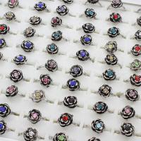 Zinklegierung Fingerring , Blume, antik silberfarben plattiert, unisex & einstellbar & mit Strass, frei von Blei & Kadmium, 19x24x12mm, Größe:6-9, 100PCs/Box, verkauft von Box