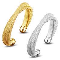 Messing-Armbänder, Messing, plattiert, offen & für Frau, keine, frei von Nickel, Blei & Kadmium, 8mm, Innendurchmesser:ca. 60mm, Länge:ca. 7 ZollInch, verkauft von PC