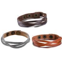 comeon® Schmuck Armband, Kuhhaut, Zinklegierung Druckknopf Verschluss, antike Bronzefarbe plattiert, mit Nietstollen & unisex & einstellbar, keine, frei von Nickel, Blei & Kadmium, verkauft per ca. 8.6 ZollInch Strang
