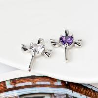 KRISTALLanhänger, 925 Sterling Silber, mit Kristall, Engelsflügel Kreuz, platiniert, facettierte, keine, frei von Nickel, Blei & Kadmium, 16x22mm, Bohrung:ca. 3-5mm, verkauft von PC