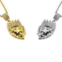 Zinklegierung Pullover Halskette, Löwe, plattiert, unisex & Kastenkette & mit Strass, keine, 32x71mm, verkauft per ca. 30 ZollInch Strang