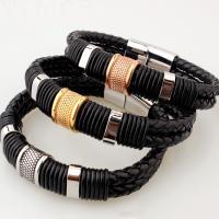 PU Leder Armband, mit Edelstahl, plattiert, unisex, keine, 12mm, verkauft per ca. 8.5 ZollInch Strang
