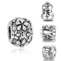 Zink Legierung Europa Perlen, Zinklegierung, antik silberfarben plattiert, verschiedene Stile für Wahl & ohne troll, frei von Blei & Kadmium, 10-15mm, Bohrung:ca. 4-4.5mm, 20PCs/Tasche, verkauft von Tasche