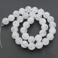 Knistern Quarz Perlen, Klarer Quarz, rund, klar, 12mm, Bohrung:ca. 1mm, ca. 34PCs/Strang, verkauft per ca. 15.7 ZollInch Strang