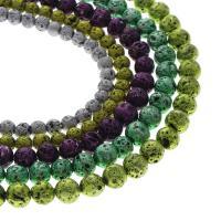 Natürliche Lava Perlen, rund, verschiedene Größen vorhanden, keine, Bohrung:ca. 1mm, verkauft per ca. 14.9 ZollInch Strang