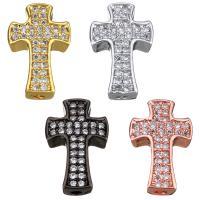 Befestigte Zirkonia Perlen, Messing, Kreuz, plattiert, Micro pave Zirkonia, keine, 9x14x3.50mm, Bohrung:ca. 1mm, 10PCs/Menge, verkauft von Menge