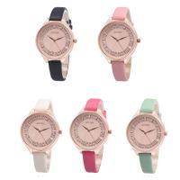 Damen Armbanduhr, PU Leder, mit Glas & Edelstahl & Zinklegierung, Rósegold-Farbe plattiert, für Frau, keine, 36x7mm, Länge:ca. 8.5 ZollInch, verkauft von PC