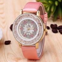 Damen Armbanduhr, PU Leder, mit Glas & Zinklegierung, Edelstahl Dornschließe, plattiert, für Frau, keine, Länge:ca. 9.4 ZollInch, verkauft von PC