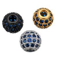 Befestigte Zirkonia Perlen, Messing, Trommel, plattiert, Micro pave Zirkonia, keine, 8x7x8mm, Bohrung:ca. 2.5mm, 10PCs/Menge, verkauft von Menge
