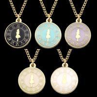 Zinklegierung Schmuck Halskette, mit Eisenkette, mit Verlängerungskettchen von 5cm, flache Runde, goldfarben plattiert, unisex & Twist oval & Emaille, keine, frei von Blei & Kadmium, 20x20mm, verkauft per ca. 17.5 ZollInch Strang