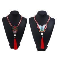 Stoff Halskette, mit ABS-Kunststoff-Perlen & Zinklegierung, mit Verlängerungskettchen von 5cm, bestickte & verschiedene Stile für Wahl & für Frau, 450mm, verkauft per ca. 17.5 ZollInch Strang