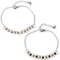 Edelstahl Schmuck Armband, mit Verlängerungskettchen von 1Inch, plattiert, Oval-Kette & für Frau, keine, 6.5mm, 1.5mm, Länge:ca. 7 ZollInch, 10SträngeStrang/Menge, verkauft von Menge