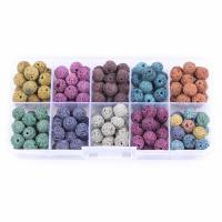 Natürliche Lava Perlen, mit Kunststoff Kasten, rund, gemischte Farben, 8mm, 128x65x22mm, Bohrung:ca. 1mm, ca. 180PCs/Box, verkauft von Box