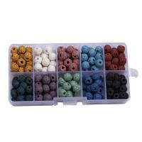 Natürliche Lava Perlen, mit Kunststoff Kasten, rund, gemischte Farben, 8mm, 128x65x22mm, Bohrung:ca. 1mm, 180PCs/Box, verkauft von Box