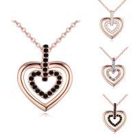 Messing Halskette, mit Verlängerungskettchen von 5cm, Herz, echtes Rósegold plattiert, Oval-Kette & für Frau & mit österreichischem Strass, keine, frei von Nickel, Blei & Kadmium, 17x20mm, verkauft per ca. 15.5 ZollInch Strang