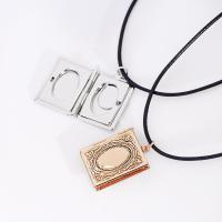 Messing Medaillon-Halskette, mit PU Leder, mit Verlängerungskettchen von 1.9Inch, Rechteck, plattiert, für Frau & Emaille, keine, frei von Nickel, Blei & Kadmium, 19x23mm, verkauft per ca. 13.7 ZollInch Strang