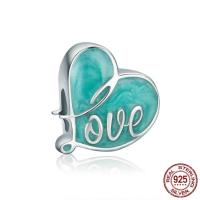 925 Sterlingsilber European Perlen, 925 Sterling Silber, Herz, Wort Liebe, ohne troll & Emaille, 12x12mm, Bohrung:ca. 4.5-5mm, verkauft von PC