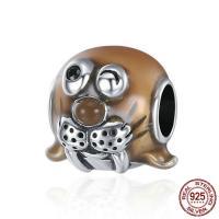 Thailand European Perlen, Seelöwe, Micro pave Zirkonia & ohne troll & Emaille, 11x12mm, Bohrung:ca. 4.5-5mm, verkauft von PC