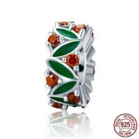 925 Sterlingsilber European Perlen, 925 Sterling Silber, Micro pave Zirkonia & ohne troll & Emaille, 4x11mm, Bohrung:ca. 4.5-5mm, verkauft von PC