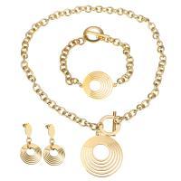Edelstahl Mode Schmuckset, Armband & Ohrring & Halskette, goldfarben plattiert, Oval-Kette & für Frau, 39x44mm, 8mm, 37x29mm, 8mm, 42mm, 21mm, Länge:ca. 16 ZollInch, ca. 8 ZollInch, verkauft von setzen