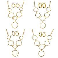 Edelstahl Schmucksets, Pullover Halskette & Ohrring, goldfarben plattiert, Oval-Kette & verschiedene Stile für Wahl & für Frau, Länge:ca. 24 ZollInch, verkauft von setzen