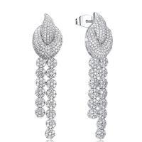 Messing Tropfen Ohrring, platiniert, für Frau & mit kubischem Zirkonia, frei von Nickel, Blei & Kadmium, 15x63mm, verkauft von Paar