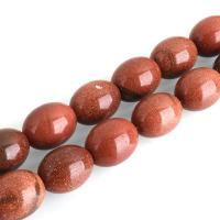 Goldstein Perlen, Goldsand, oval, 24x18x18mm, Bohrung:ca. 0.9mm, ca. 16PCs/Strang, verkauft per ca. 16 ZollInch Strang