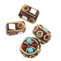 Indonesien Perlen, mit Harz & Zinklegierung, goldfarben plattiert, verschiedene Stile für Wahl, frei von Blei & Kadmium, Bohrung:ca. 2,1.5mm, verkauft von PC