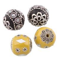 Indonesien Perlen, mit Zinklegierung, rund, antik silberfarben plattiert, verschiedene Stile für Wahl & mit Strass, frei von Blei & Kadmium, Bohrung:ca. 1mm, verkauft von PC