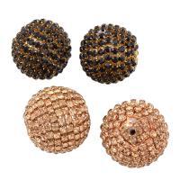 Strass Messing Perlen, mit Kunststoff, rund, plattiert, verschiedene Stile für Wahl & mit Strass, frei von Nickel, Blei & Kadmium, Bohrung:ca. 1mm, verkauft von PC
