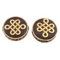Indonesien Perlen, mit Zinklegierung, flache Runde, goldfarben plattiert, frei von Blei & Kadmium, 30x28.50x9mm, Bohrung:ca. 2mm, verkauft von PC