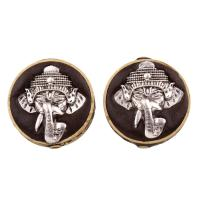 Indonesien Perlen, mit Zinklegierung, flache Runde, plattiert, frei von Blei & Kadmium, 28x13mm, Bohrung:ca. 2mm, verkauft von PC