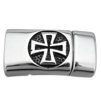 Edelstahl Magnetverschluss, Schwärzen, 29x16x10mm, Bohrung:ca. 12.3x6.3mm, 10PCs/Menge, verkauft von Menge