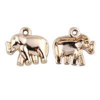 Verkupferter Kunststoff Anhänger, Elephant, goldfarben plattiert, 20x13.50x4mm, Bohrung:ca. 2mm, 20PCs/Tasche, verkauft von Tasche