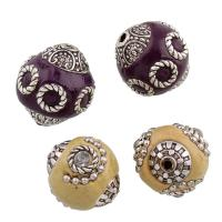 Indonesien Perlen, mit Zinklegierung, Olive, antik silberfarben plattiert, verschiedene Stile für Wahl & mit Strass, frei von Blei & Kadmium, verkauft von PC