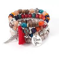 Harz Armband-Set, Armband, mit Holz & Zinklegierung, Wort ich liebe dich, für Frau, keine, 6-8mm, Länge:ca. 7.5 ZollInch, 4SträngeStrang/setzen, verkauft von setzen