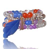 Glas Armband-Set, Armband, mit Feder & Zinklegierung, für Frau, keine, 6-8mm, Länge:ca. 7.5 ZollInch, 4SträngeStrang/setzen, verkauft von setzen