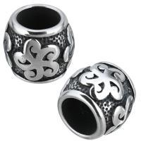 Edelstahl-Perlen mit großem Loch, Edelstahl, Trommel, Schwärzen, 13x11.50x13mm, Bohrung:ca. 8mm, 10PCs/Menge, verkauft von Menge