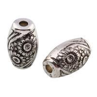 Verkupfertes Kunststoff-Perlen, Verkupferter Kunststoff, Trommel, antik silberfarben plattiert, mit Blumenmuster, 20x12x13mm, Bohrung:ca. 2.5mm, 20PCs/Tasche, verkauft von Tasche