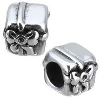 Edelstahl-Perlen mit großem Loch, Edelstahl, Geschenk Form, Schwärzen, 9x9x10mm, Bohrung:ca. 5.5mm, 10PCs/Menge, verkauft von Menge