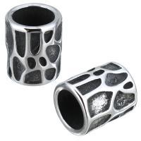 Edelstahl-Perlen mit großem Loch, Edelstahl, Zylinder, Schwärzen, 11x13x11mm, Bohrung:ca. 8mm, 10PCs/Menge, verkauft von Menge