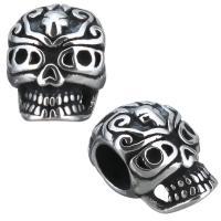 Edelstahl-Perlen mit großem Loch, Edelstahl, Schädel, Schwärzen, 8x12x8mm, Bohrung:ca. 4mm, 10PCs/Menge, verkauft von Menge