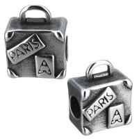 Edelstahl Kaution Perlen, Handtasche, mit Brief Muster & Schwärzen, 12x15x8mm, Bohrung:ca. 5mm, 4x2mm, 10PCs/Menge, verkauft von Menge