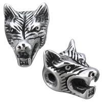 Edelstahl Perle, Wolf, Schwärzen, 11x14x13mm, Bohrung:ca. 2mm, 10PCs/Menge, verkauft von Menge