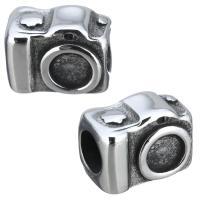 Edelstahl Perlen Einstellung, Kamera, Schwärzen, 13x9.50x8mm, Bohrung:ca. 5mm, Innendurchmesser:ca. 5mm, 10PCs/Menge, verkauft von Menge