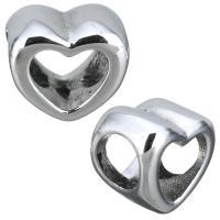 Edelstahl-Perlen mit großem Loch, Edelstahl, Herz, originale Farbe, 11x10x8mm, Bohrung:ca. 5.5mm, 10PCs/Menge, verkauft von Menge