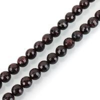 Granat Perle, rund, verschiedene Größen vorhanden & facettierte, Bohrung:ca. 1mm, verkauft per ca. 15.5 ZollInch Strang