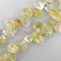 Natürlicher Citrin Perlen, Gelbquarz Perlen, 6-17x8-32x3-14mm, Bohrung:ca. 1mm, ca. 36PCs/Strang, verkauft per ca. 15 ZollInch Strang